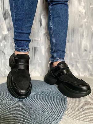 Кросівки жіночі з натуральної замші на липучці чорні, фото 2
