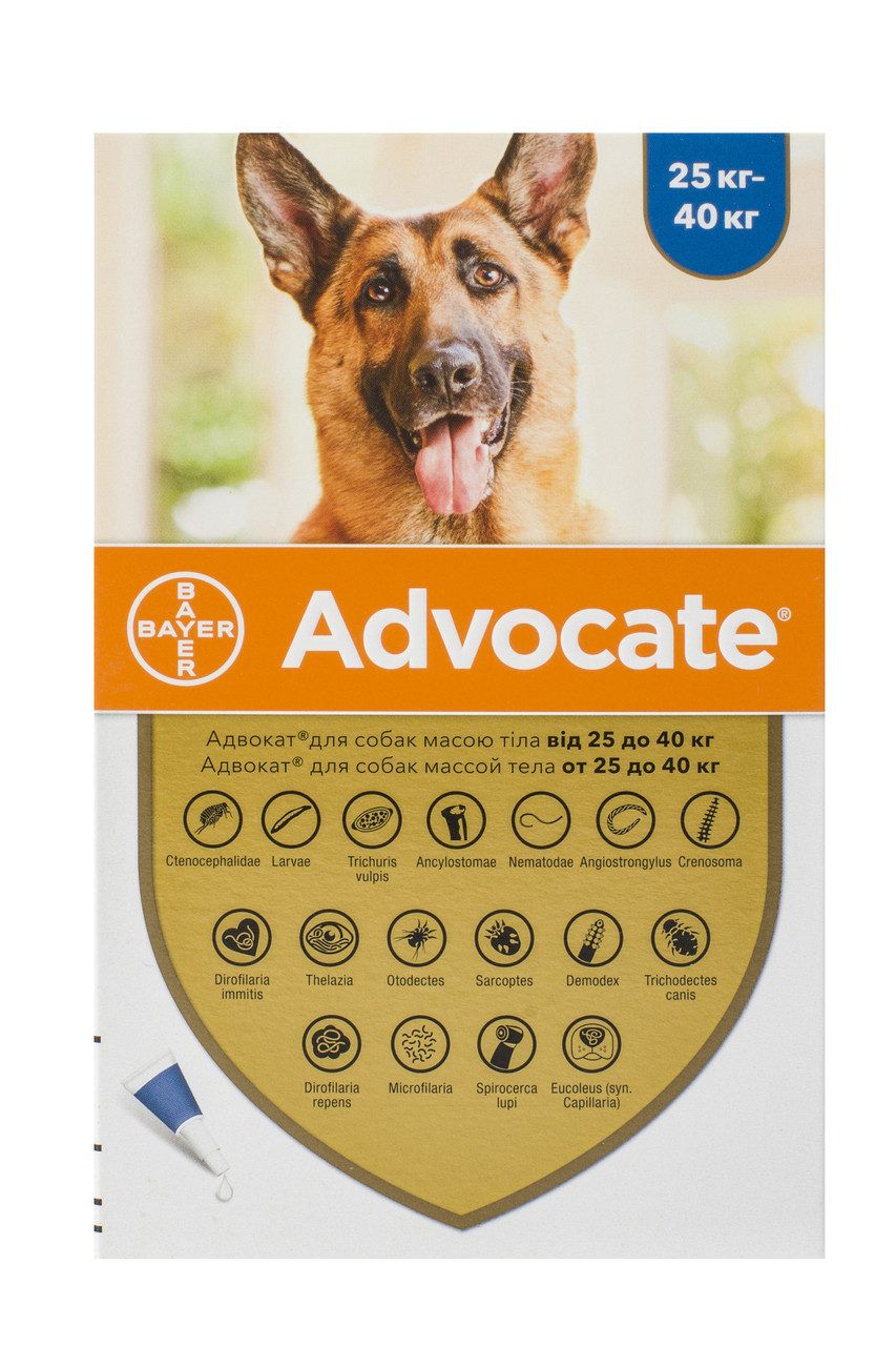 Краплі для собак від 25 до 40 кг від бліх, глистів та кліщів Адвокат Advocate Bayer 1 піпетка