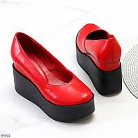 """Жіночі шкіряні туфлі на платформі Червоні """"Stone"""", фото 1"""