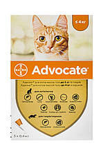 Краплі для котів до 4 кг від бліх, глистів та кліщів Адвокат Advocate Bayer 3 піпетки