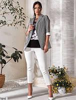 Стильный женский комплект тройка с пиджаком на лето батальный 50 52 54 56 58
