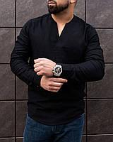 Рубашка мужская льняная Band черная   Мужская рубашка классическая летняя без воротника ЛЮКС качества