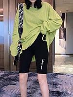 Жіночі трикотажні велосипедки Напис розмір норма 42-52,колір чорний