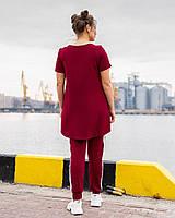Легкий спортивний костюм жіночий з двухнити з удлиненнной футболкою (Батал), фото 2