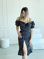 Женское платье с рукавами фонариками в горошек
