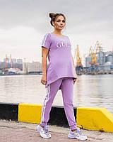 Легкий спортивний костюм жіночий з двухнити з удлиненнной футболкою (Батал), фото 8