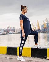 Легкий спортивний костюм жіночий з двухнити з удлиненнной футболкою (Батал), фото 10