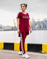 Легкий спортивний костюм жіночий з двухнити з удлиненнной футболкою (Батал), фото 9