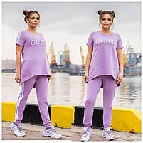 Легкий спортивний костюм жіночий з двухнити з удлиненнной футболкою (Батал), фото 7