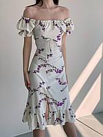 Женское платье с рукавами фонариками в мелкий цветочек