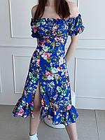 Женское платье с рукавами фонариками в цветочек
