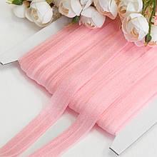 Гумка для пов'язок (еластична бейка), 1,5 см, рожевий