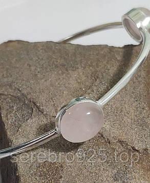 Браслет с розовым кварцем в серебре, фото 2