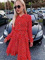 Стильное платье в горошек на лето с длинным рукавом (Норма)