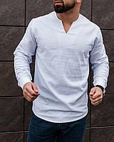 Рубашка мужская повседневная Wolt без воротника белая | Мужская рубашка льняная ЛЮКС качества
