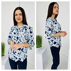 Блуза женская софт, с застёжкой на кнопки в голубом цвете