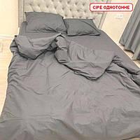 Двоспальний комплект з простирадлом на резинці - Сіре однотонне