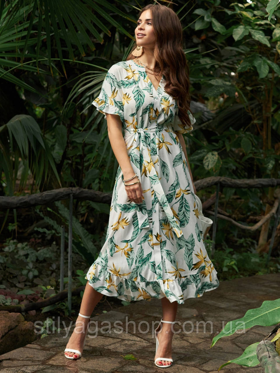 Расклешенное платье макси в цветочный принт ЛЕТО