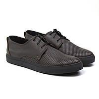 Кроссовки мужские летние кеды коричневые кожаные обувь с перфорацией Rosso Avangard Slipy Perf Brown