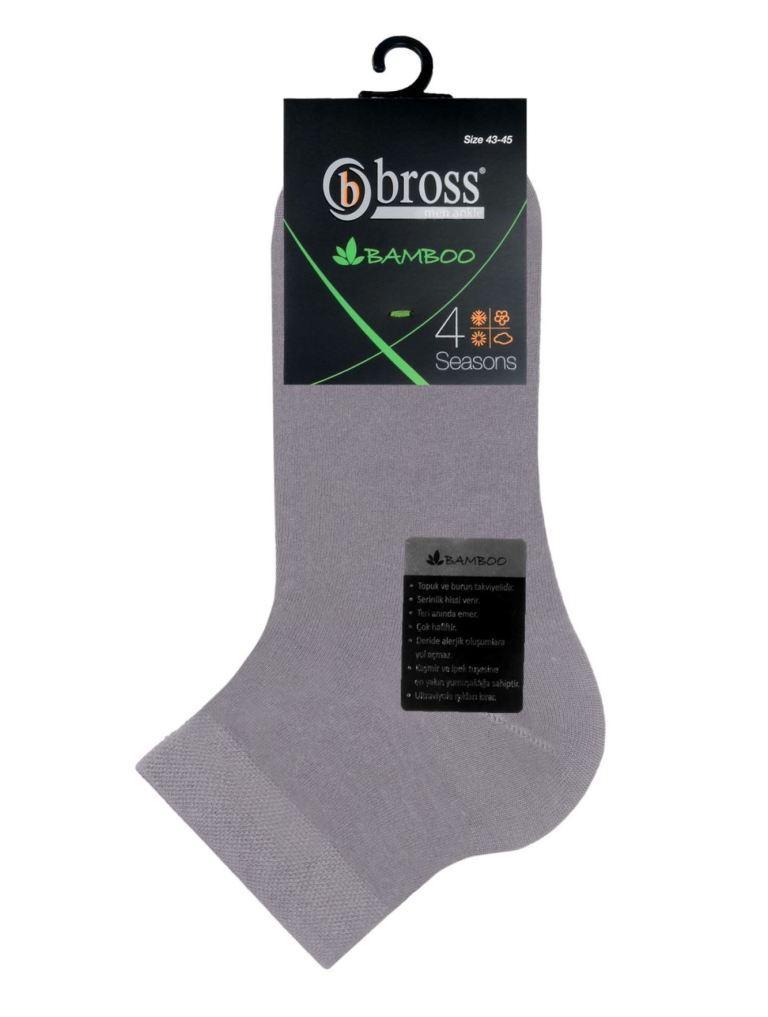 Носки укороченные мужские бамбуковые Bross серые