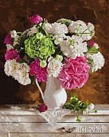 Стильная Картина по номерам Нежность в букете 40х50 см Цветы Живопись по цифрам на подрамнике Идейка KHO2953