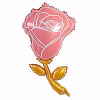 Фольгированный шар фигурный цветок роза розовая 90*48 см