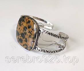 Браслет манжет яшма в серебре, фото 2