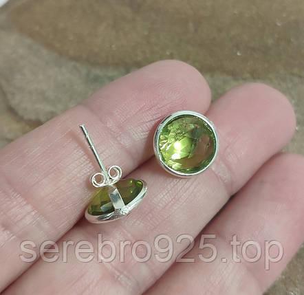 Серьги с перидотом в серебре, фото 2