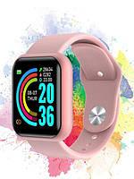 Smart Bracelet D20 - смарт-часы многофункциональные   фитнес браслет Y68 Розовые