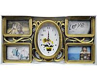 Часы с фоторамками на 4 фото 10*15 см белая