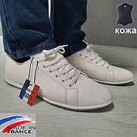 Мужские белые кожаные мокасины, туфли летние, спортивные, городские кроссовки