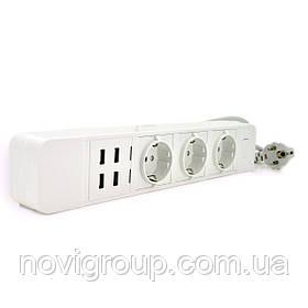 Мережевий фільтр з керуванням через WiFi, 3 Розетки + 4 USB, 2 м, перетин 3х0,75мм, Black / White, Box