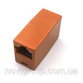 З'єднання єднувач RJ45 8P8C мамо / мама RJ45 для з'єднання єднання кабелю, помаранчевий, Q100