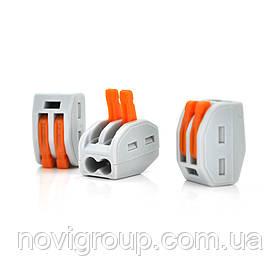 Клема з нажимними затискачами 2-дротова WAGO K222-412 для розподільчих коробок, 2-pin, сіро-помаранчева
