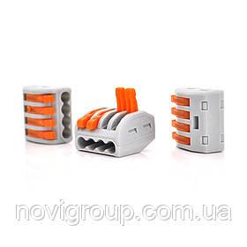 Клема з нажимними затискачами 4-дротова WAGO K222-414 для розподільних коробок, 4-pin, сіро-помаранчева