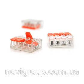 Клема з нажимними затискачами 4-дротова WAGO K221-414 для розподільчих коробок, 4-pin, прозоро-помаранчева