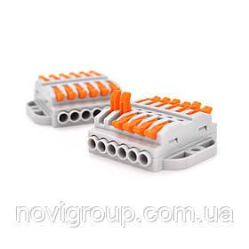 Клемна колодка з нажимними затискачами 6-дротова WAGO K223-6P для розподільчих коробок, 6-pin, сіра