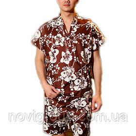 Чоловік банний костюм, короткий рукав, коричневий