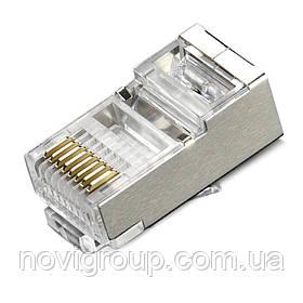 Конектор Merlion RJ-45 8P8C FTP Cat-6 (100 шт/уп.) екранований  (позолочені)