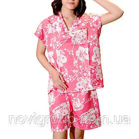 Жіночий банний костюм, короткий рукав, рожевий