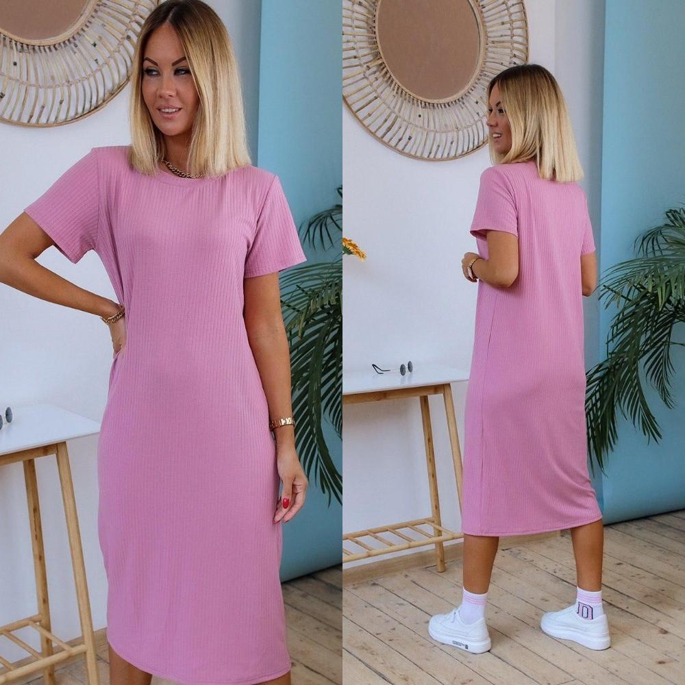 Женское платье, летний рубчик, р-р универсальный 42-46 (розовый)
