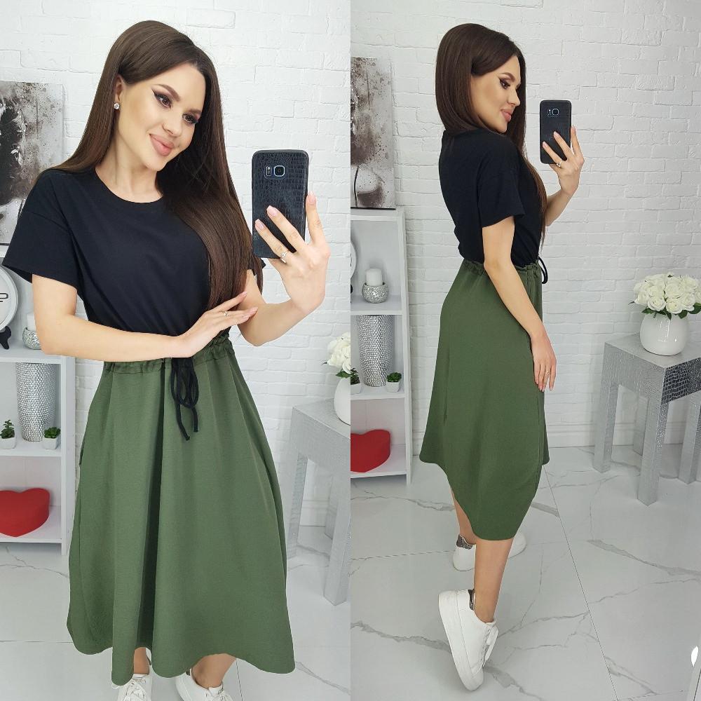 Жіноче плаття, бавовна + американська креп жатка, р-р універсальний 44-48 (чорний+хакі)