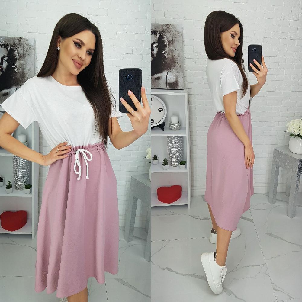 Женское платье, хлопок + американская креп жатка, р-р универсальный 44-48 (белый+пудра)