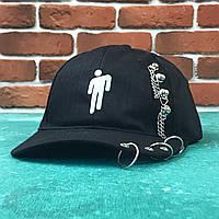 Кепка Бейсболка Мужская Женская City-A с человеком Билли Айлиш Billie Eilish Черная с кольцами, фото 1