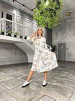 Женское легкое летнее платье с цветочками Повседневное платье на пуговицах с цветочками