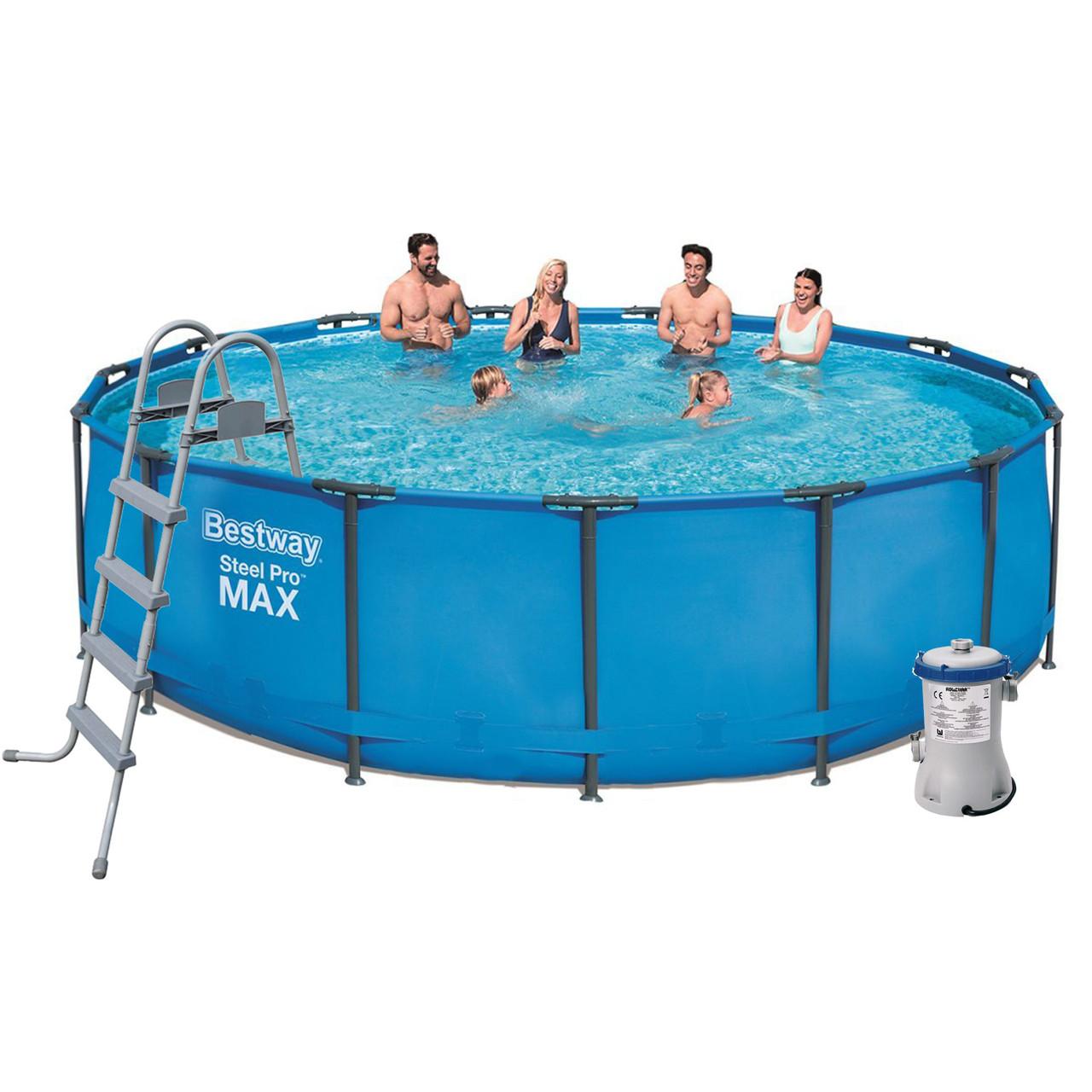 Каркасный бассейн Bestway 56438, 457 x 122 см (3 028 л/ч, лестница, тент)