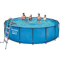 Каркасный бассейн Bestway 56438 - 1, 457 x 122 см (лестница, тент)