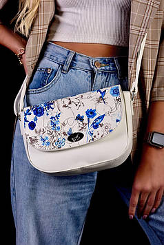 Сумка женская белая с цветочным принтом код 7-8003