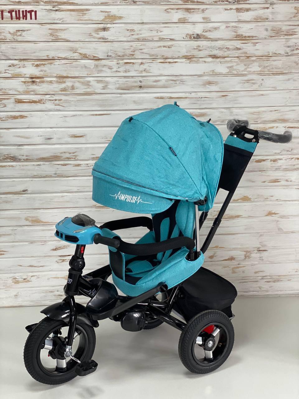 Велосипед трехколесный TILLY Impulse с пультом и усиленной рамой, надувные колеса, Бирюзовый лен T-386/1
