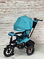 Велосипед трехколесный TILLY Impulse с пультом и усиленной рамой, надувные колеса, Бирюзовый лен T-386/1, фото 1